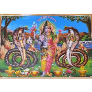 インドの神様ポスター シバとパールバティー 変形A3サイズ ヒンドゥー教 アジアン エスニック|mahanadi