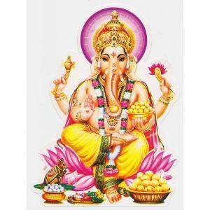 インドの神様ガネーシャのステッカーです。 粘着力が弱いです。予めご了承ください。 * サイズ / 縦...
