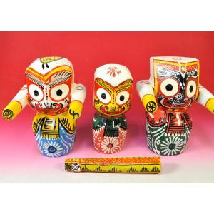 ジャガンナート四神像 大 インドのシュールな木製神像 オリッサ州土着神 アジアン雑貨 ST21401-L|mahanadi