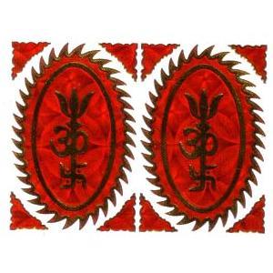 インドの神様ステッカー  オームと卍と三叉戟  STKR2|mahanadi