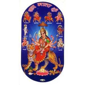 インドの両面プリント神様ステッカー ドゥルガー  WST-DRG1|mahanadi