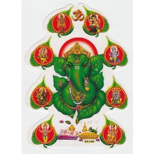 インドの両面プリント神様ステッカー ガネーシャ WST-GNS8|mahanadi