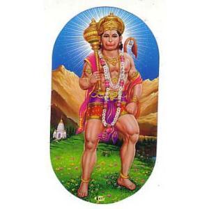 インドの両面プリント神様ステッカー ハヌマーン WST-HNMN2|mahanadi