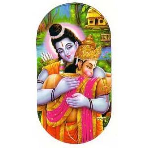 インドの両面プリント神様ステッカー ラーマとハヌマーン WST-RM-HNMN1|mahanadi