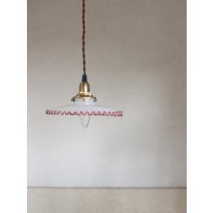 ::ミルクグラスシェード ラメラレッド:: HS1640 電傘 ランプシェード|mahatagiya