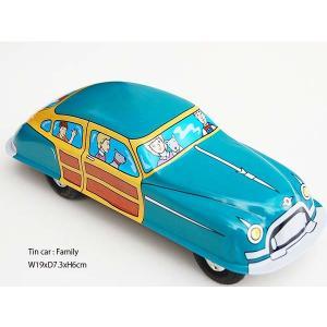 TIN CAR FAMILY::ブリキのクラシックカー ファミリーカー S82558:: mahatagiya
