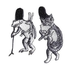 [京東都][鳥獣絵巻] ワッペン 鳥獣戯画 蛙と猫|mahatagiya