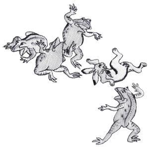 [京東都][鳥獣絵巻] ワッペン 鳥獣戯画 蛙と兎の相撲|mahatagiya