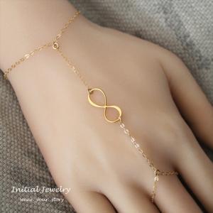 フィンガースリング インフィニティ ゴールド ブレスレット [Customized Jewelry / カスタマイズ ジュエリー] 海外受注|mahealani