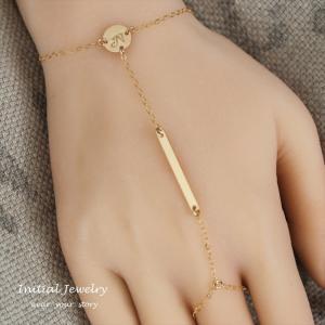 フィンガースリング スキニーバー ゴールド ブレスレット [ Initial Jewelry / イニシャル ジュエリー] 海外受注|mahealani