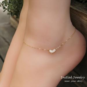 きらきらハート ゴールド アンクレット [ Initial Jewelry / イニシャル ジュエリー] 海外受注 mahealani