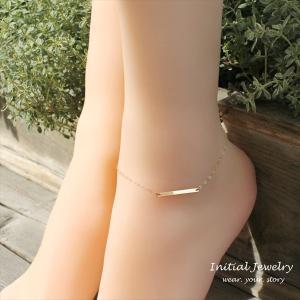 ホリゾンタルバー ゴールド アンクレット [ Initial Jewelry / イニシャル ジュエリー] 海外受注 mahealani