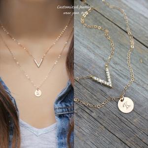 きらきらシェブロン ゴールド レイヤード ネックレス [Initial Jewelry / イニシャル ジュエリー] 海外受注|mahealani