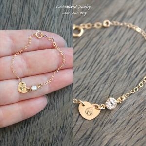 きらきら CZ タイニーハート ゴールド スリム ブレスレット [Initial Jewelry / イニシャル ジュエリー] 海外受注|mahealani