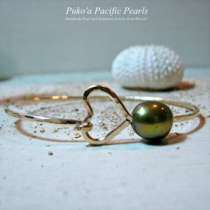 グリーン パール ハート バングル ゴールド [ Pukoa Pacific Pearls / ハワイ ] [海外受注]