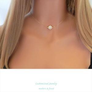 イニシャルチャーム & オパール レイヤード ネックレス [S&L Customized Jewelry] 海外受注