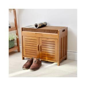 玄関 ベンチ 木製 収納 収納つき 収納付 スリッパラック 60×32.5×49CM 収納でき 収納スツール 北欧 シューズボックス 開き戸 いす 玄関 スツール 玄関ベンチの写真