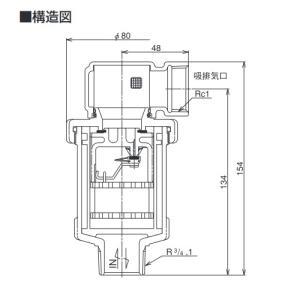 ベン 吸排気弁 AFV4N-F 20 AFV-4N型 標準品 (A)20(B)3/4 [【配送地域:東京のみ】♪□] maido-diy-reform 02