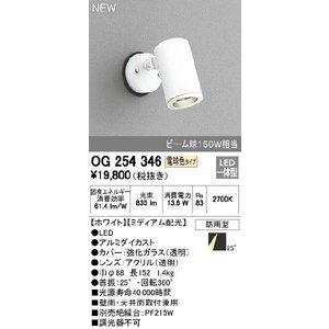 <title>照明器具 オーデリック OG254346 送料無料でお届けします エクステリアスポットライト LED一体型 ビーム球150W相当 電球色タイプ ミディアム配光</title>