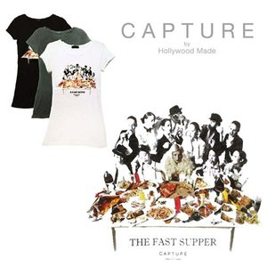 ハリウッドメイド Tシャツ レディース トップス インナー 半袖 カジュアル パロディ プリント hollywood made THE FAST SUPPER WOMENS CREW TEE|maido-selection
