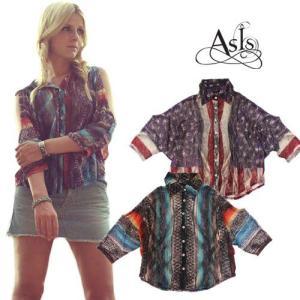 アズイズ As Is AsIs プリントレース コールドショルダー シャツ Printed Lace Cold Shoulder Shirt|maido-selection