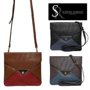 サンドラロバート Sondra Roberts カラーブロックエンベロープバッグ Suede with Triangular Lock Crossbody maido-selection