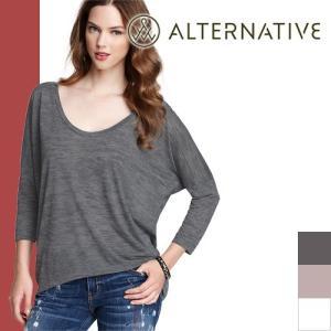 オルタナティブ オルタナティブアパレル Alternative Apparel Tシャツ 七分袖 ドルマン カットソー|maido-selection