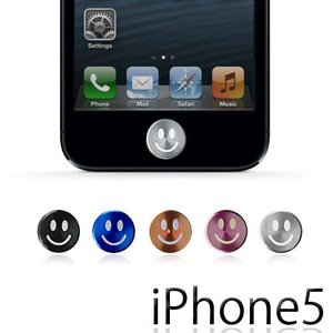 iPhone5 ホームボタン シール かわいい おしゃれ スマイル|maido-selection