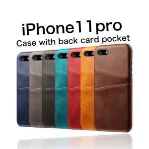 iPhone11pro ケース 背面収納 カードホルダー|maikai-leather