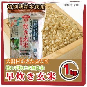 白米同様手軽に炊ける 大潟村あきたこまち 早炊き玄米 無洗米 1kg 栄養機能食品【鉄分】|mailife
