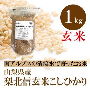 山梨県産  梨北信玄米 コシヒカリ 玄米 1kg 通販  1キロ お試しサイズ 特別栽培米 基準の50%以下 減農薬 減化学肥料 人と環境にやさしいお米|mailife