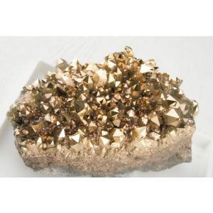 金運UP 99.99%純金蒸着 ゴールドオーラ水晶クラスター 天然石 パワーストーン 金色 フランス・サン・マリー商品 送料無料|maimustone-y
