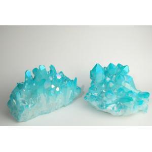 アクアオーラクォーツ クラスター 約8×4cm 全2種 天然石 パワーストーン 水晶 ブルー オーラの浄化 金運UP 送料無料|maimustone-y
