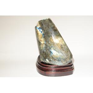 ラブラドライト 原石 木製台座付き 天然石 パワーストーン ソウルメイトを引き寄せる 前世と今を繋ぐ 送料無料|maimustone-y