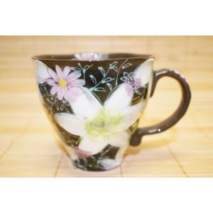 工房ゆずりは 白絵花 マグカップ 瀬戸焼 花柄 敬老の日 プレゼント ギフト 内祝い 送料無料|maimustone-y