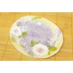 即納できます 工房ゆずりは 花かざり ケーキ皿 瀬戸焼 皿 デザート皿 花柄 紫 プレゼント ギフト 内祝い|maimustone-y
