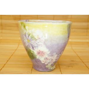 即納できます 工房ゆずりは 花かざり 湯呑 瀬戸焼 湯飲み 花柄 紫 プレゼント ギフト 内祝い|maimustone-y