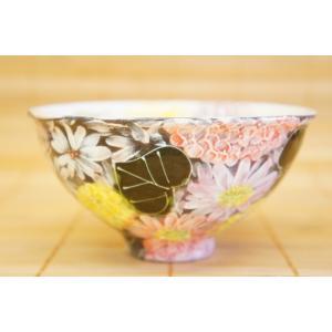 工房ゆずりは 彩花化粧 飯椀 瀬戸焼 茶碗 花柄 プレゼント ギフト 内祝い|maimustone-y