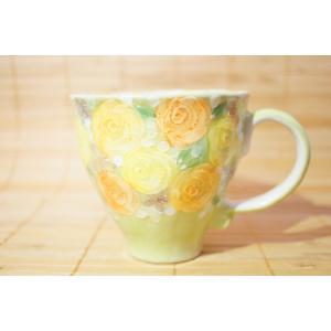 工房ゆずりは 黄彩バラ園 マグカップ 母の日 瀬戸焼 花柄 プレゼント ギフト 内祝い 送料無料|maimustone-y