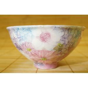 工房ゆずりは 色彩花 飯椀 瀬戸焼 茶碗 花柄 プレゼント 敬老の日 ギフト 内祝い|maimustone-y