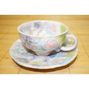 工房ゆずりは 彩ばら花紋 コーヒー碗セット カップ ソーサー 瀬戸焼 花柄 プレゼント ギフト 内祝い 送料無料|maimustone-y