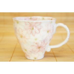 工房ゆずりは 白絵花紋 マグカップ 瀬戸焼 花柄 白 プレゼント ギフト 内祝い|maimustone-y