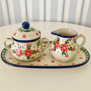 シュガーポット&ミルクピッチャーセットポーリッシュポタリー Ceramika Artystyczna ツェラミカ アルティスティチナ シュガーポット ミルクピッチャー|maison-fleurie