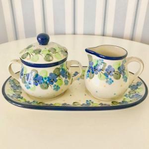 シュガーポット&ミルクピッチャーセット ポーリッシュポタリー Ceramika Artystyczna ツェラミカ アルティスティチナ シュガーポット ミルクピッチャー|maison-fleurie