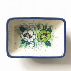 ミニスクエアボウル ポーリッシュポタリー ツェラミカ アルティスティチナ カフェ 陶器 食器 耐熱  ボウル 小鉢 おしゃれ かわいい 可愛い 花柄 プレゼント|maison-fleurie