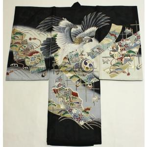 男の子夏のお宮参り着物(絽)dbro02  鷹 黒|maisugata