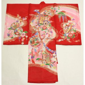 女の子夏のお宮参り着物(絽)dgro01  赤|maisugata