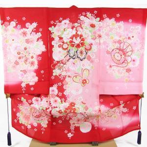 女の子夏のお宮参り着物(絽)dgro06  赤|maisugata