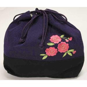 桜刺繍巾着 紫 kisa01|maisugata