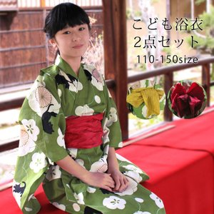 [キッズ]女の子ゆかたセット 梅に猫 wko3|maisugata